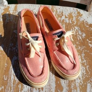 SPERRY TOPSIDER pink sequined slip-on size 7